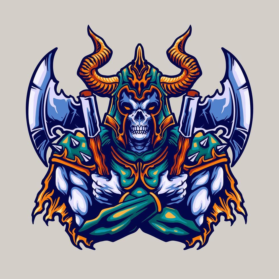 Skull Viking Helmet and Axes Warrior Illustration vector
