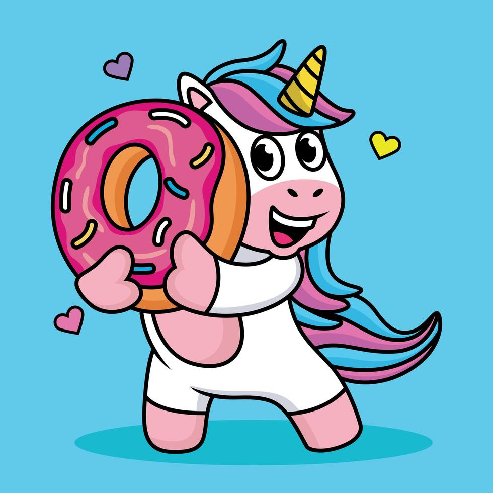 Cute Unicorn Cartoon with Sweet Donuts and Hearts. Vector Illustration.