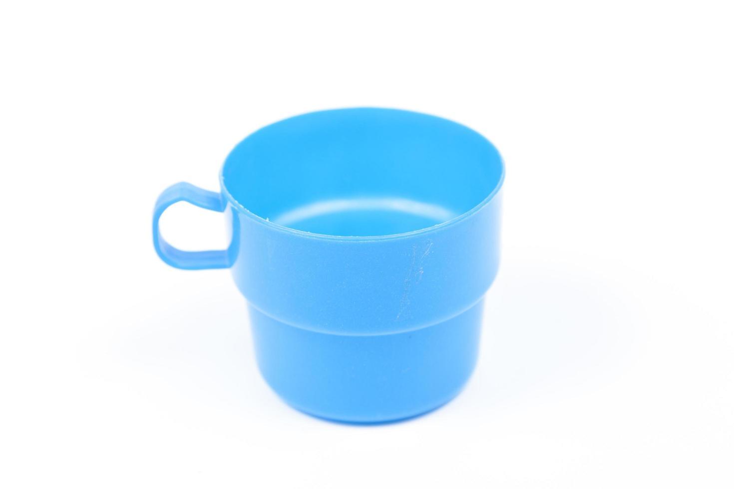 vaso de plastico azul foto