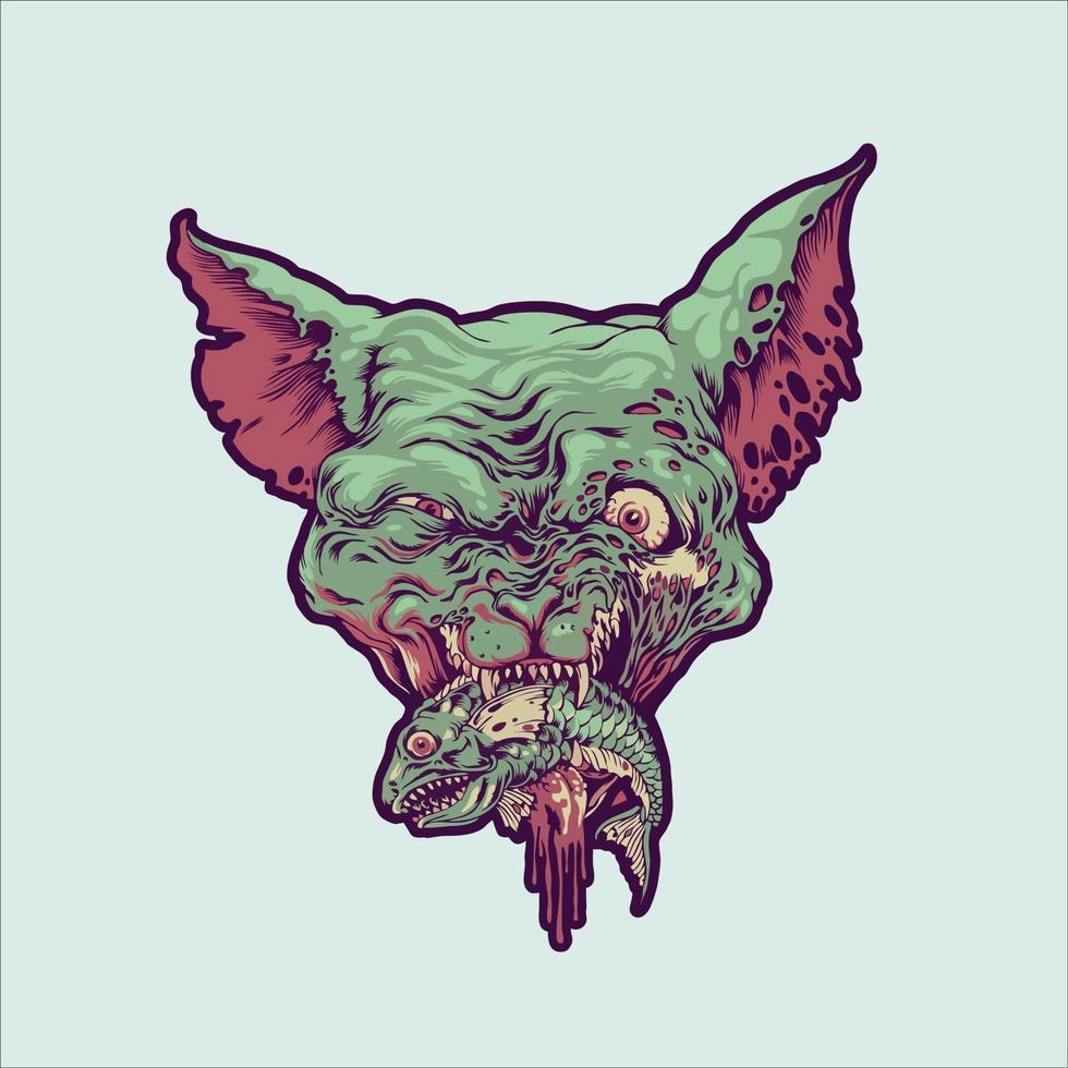 Vampire Cat Head Eatd Fish Illustration vector