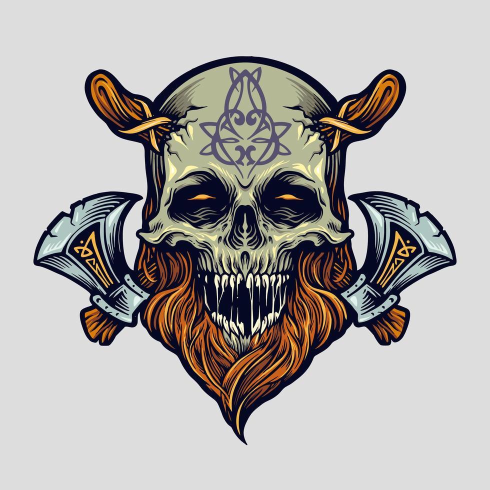 Skull Viking Warrior with Axe Illustration vector