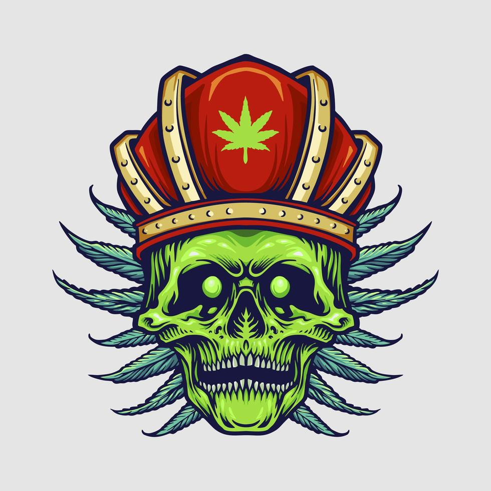 King Skull with Red Crown and Cannabis Leaves vector