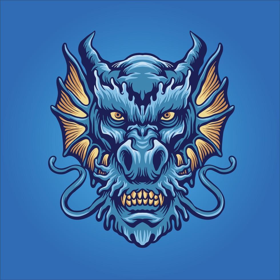 Blue Angry Dragon Head Mascot vector