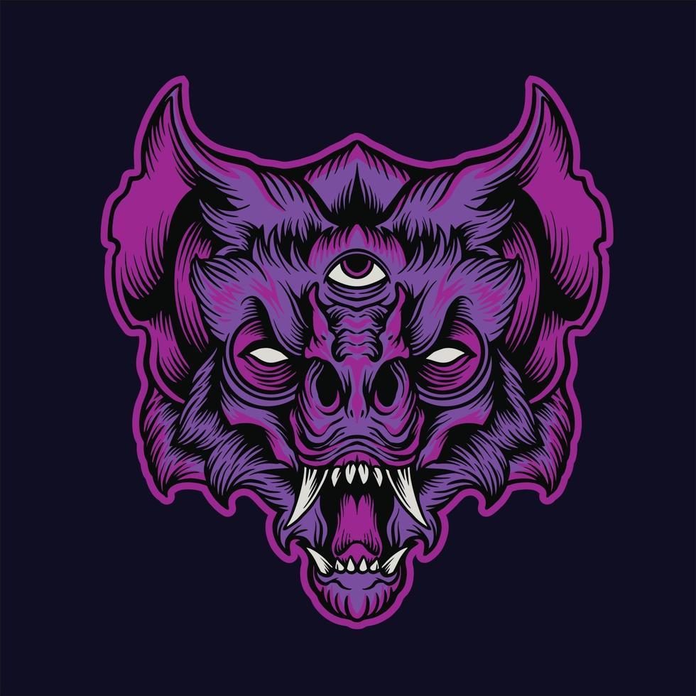 Angry Bat Head Monster Illustration vector