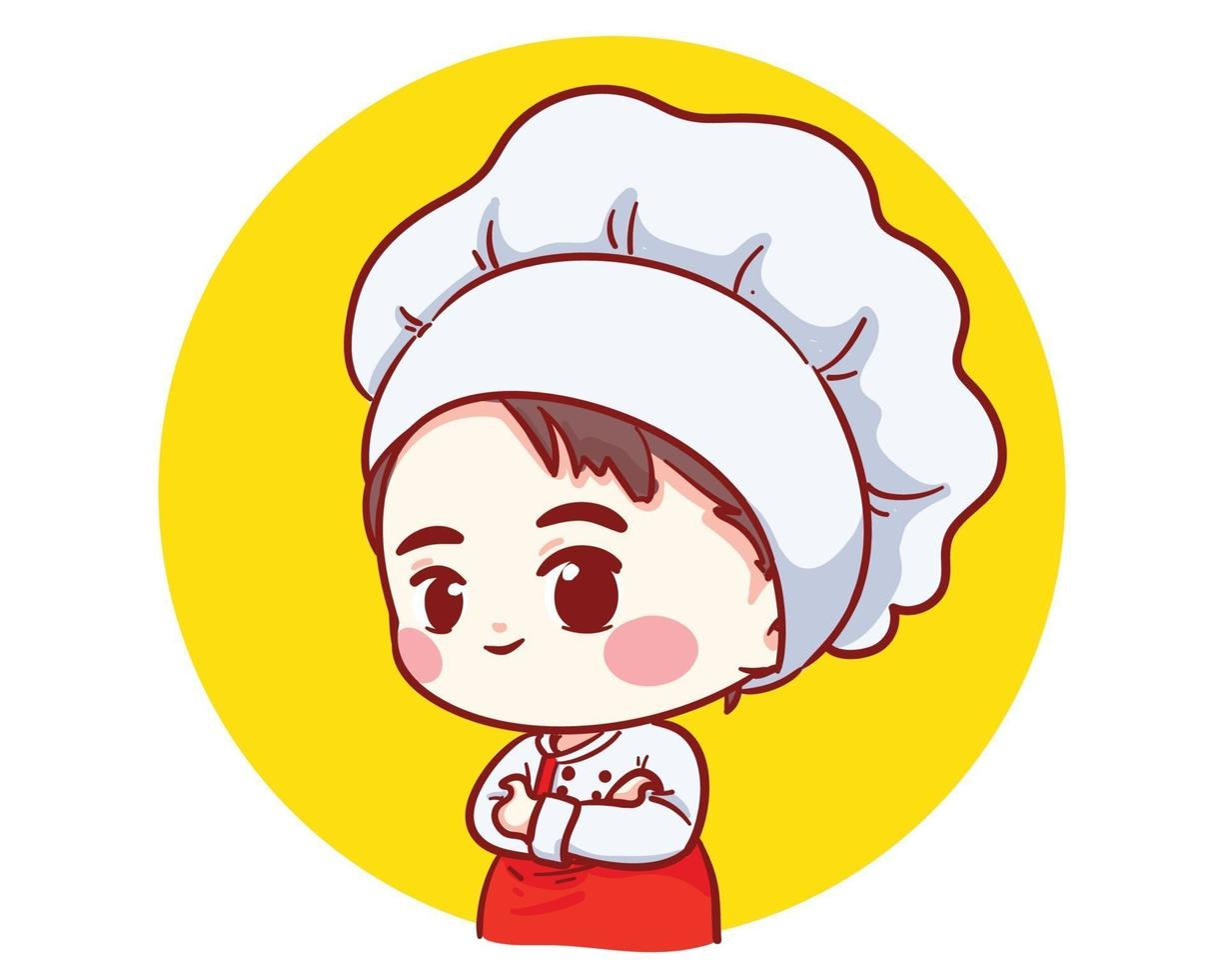 Cute Bakery chef boy arms crossed smiling cartoon art illustration vector