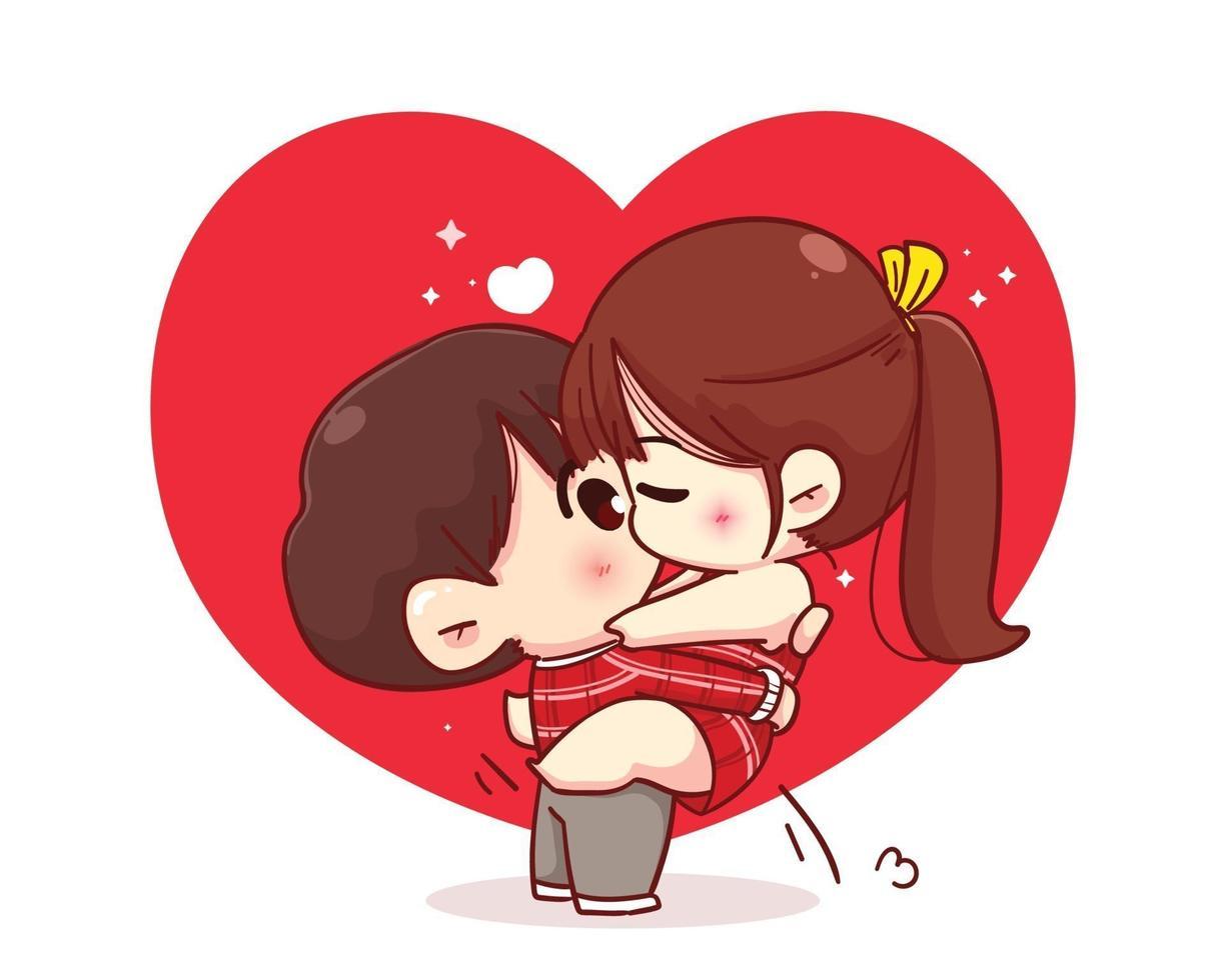 pareja besándose feliz san valentín personaje de dibujos animados ilustración vector