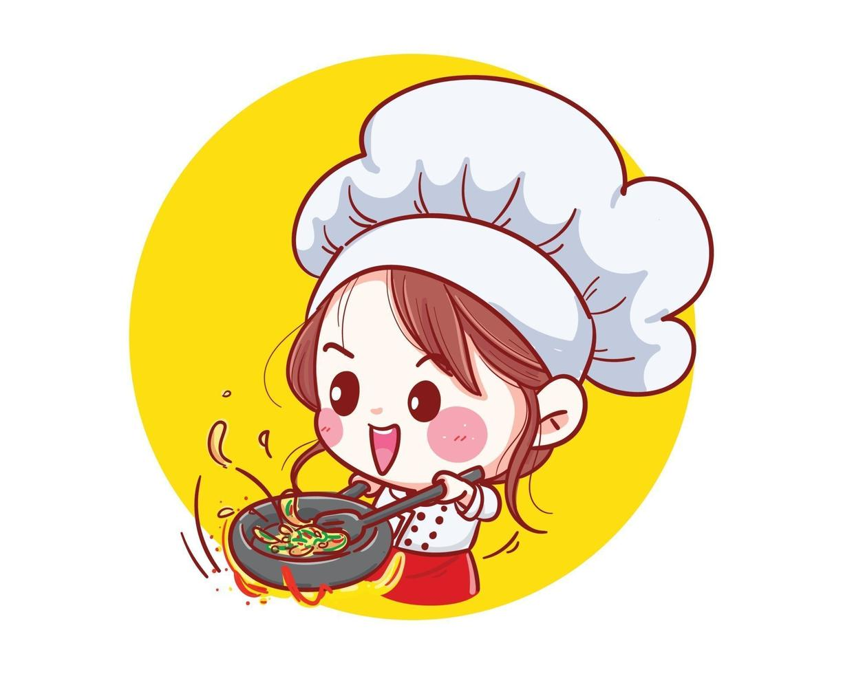 Chef girl Smiling happy and cooking with love in her kitchen vector