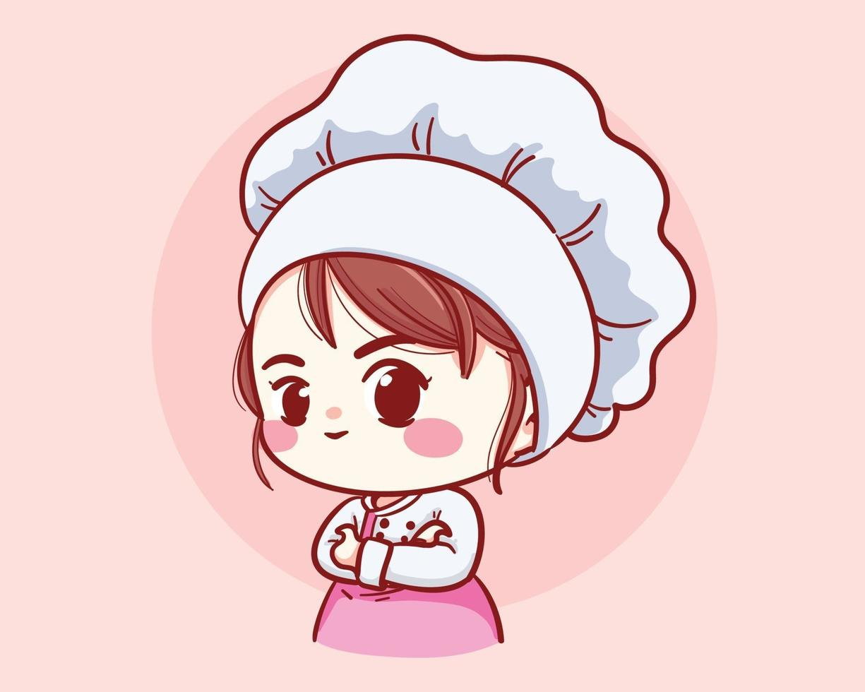 Cute Bakery chef girl arms crossed smiling cartoon art illustration vector
