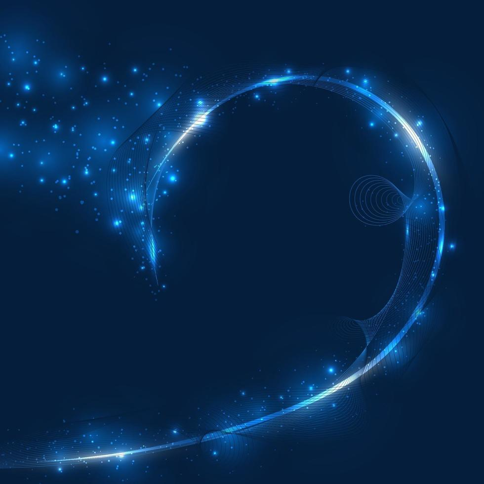 Abstract blue motion lighting effect sparkling futuristic particles shining space in dark background. vector