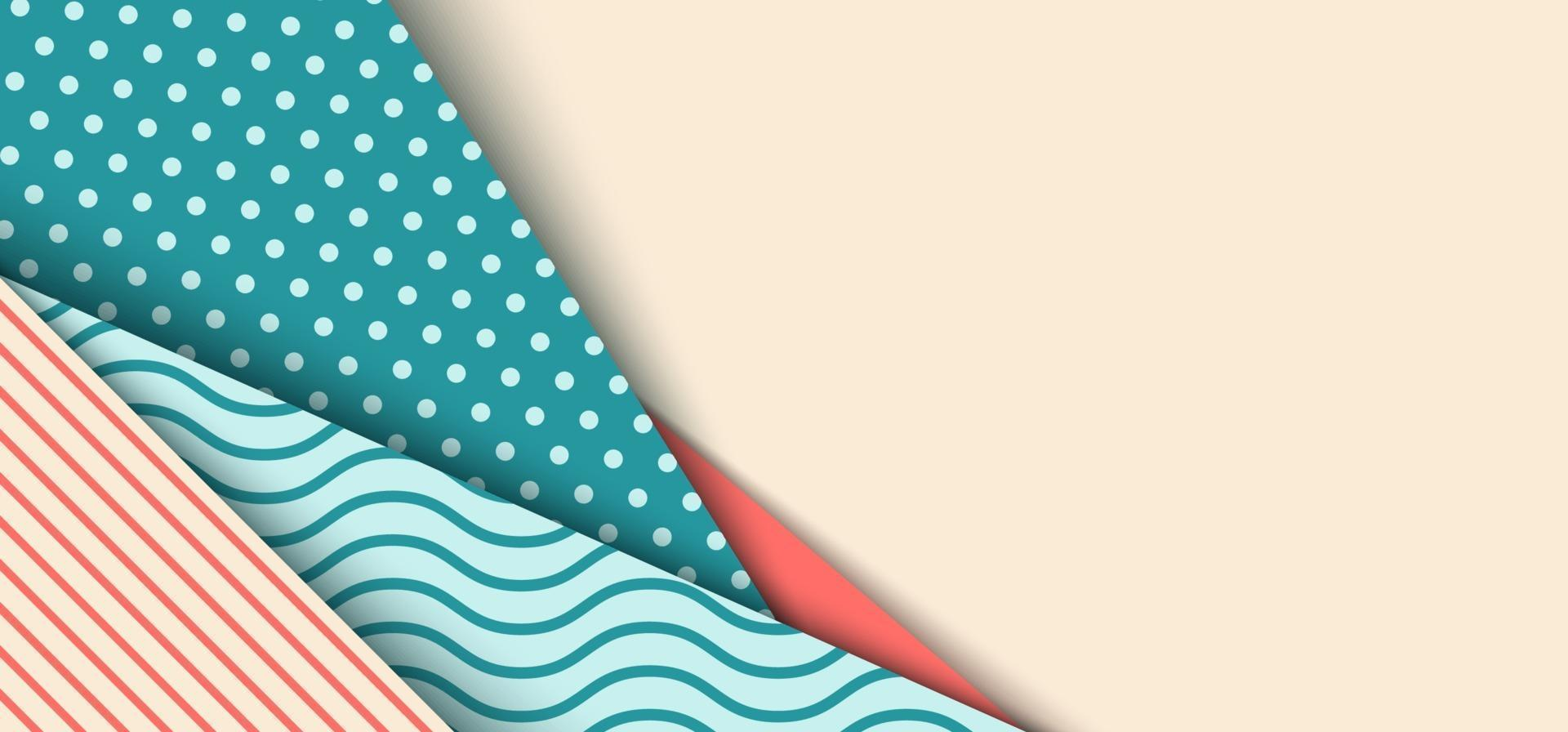 Banner web template background in pastel color with polka dot, wave, line cute pattern paper cut style vector
