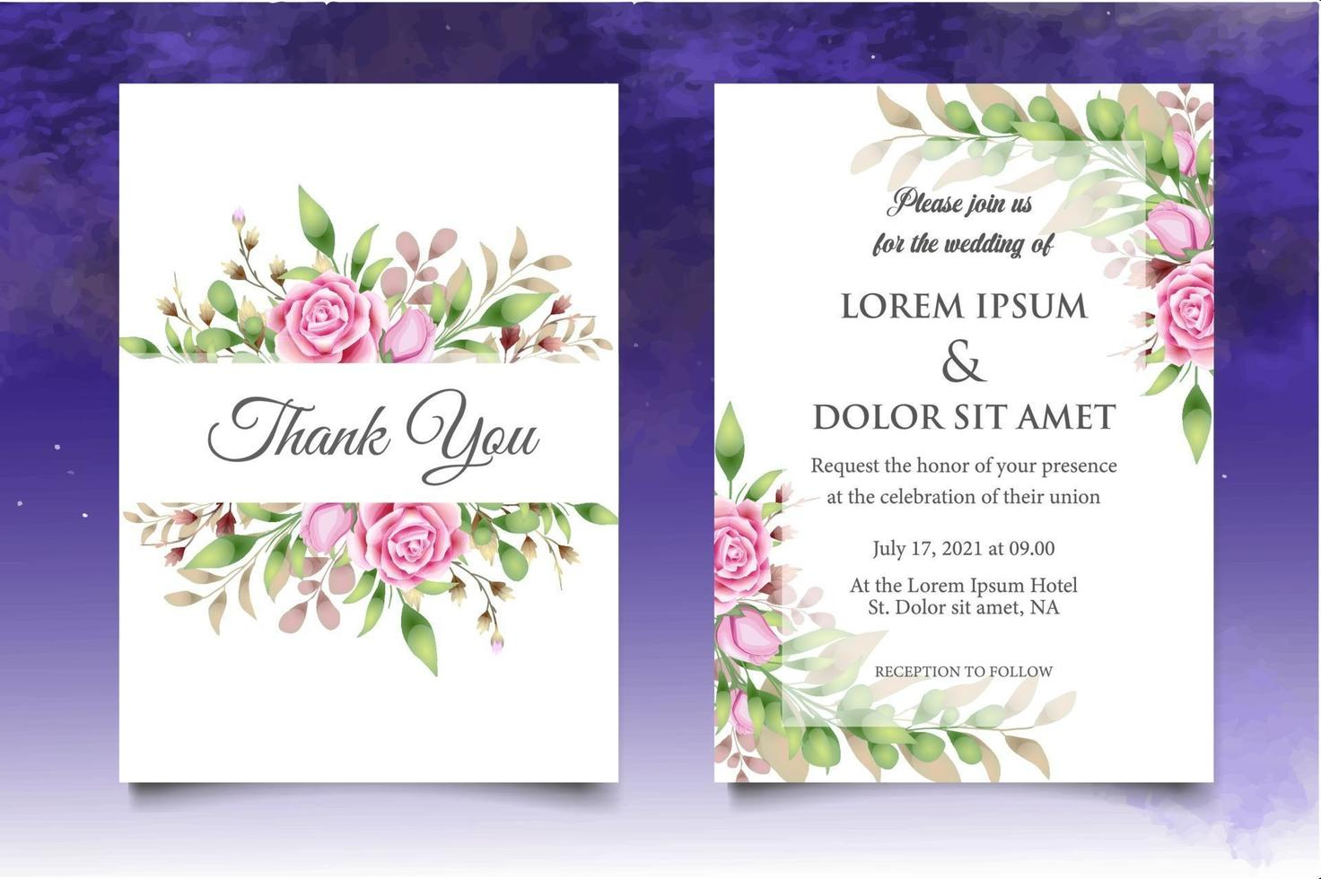 Beautiful Hand Drawing Floral Wedding Invitation Template vector