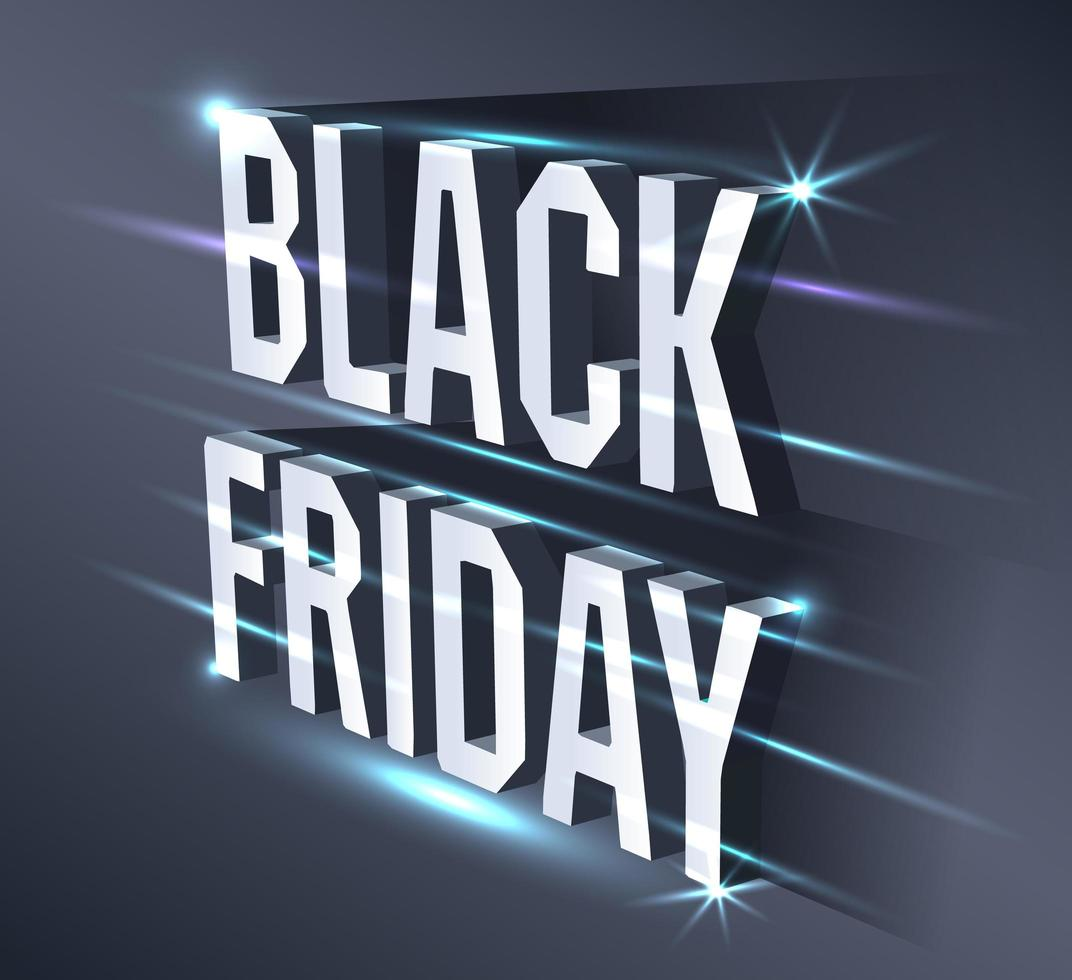 Dark banner for black Friday sale. Metallic isometric text bright billboard on black background with neon lights. Concept of advertising for seasonal offer. vector