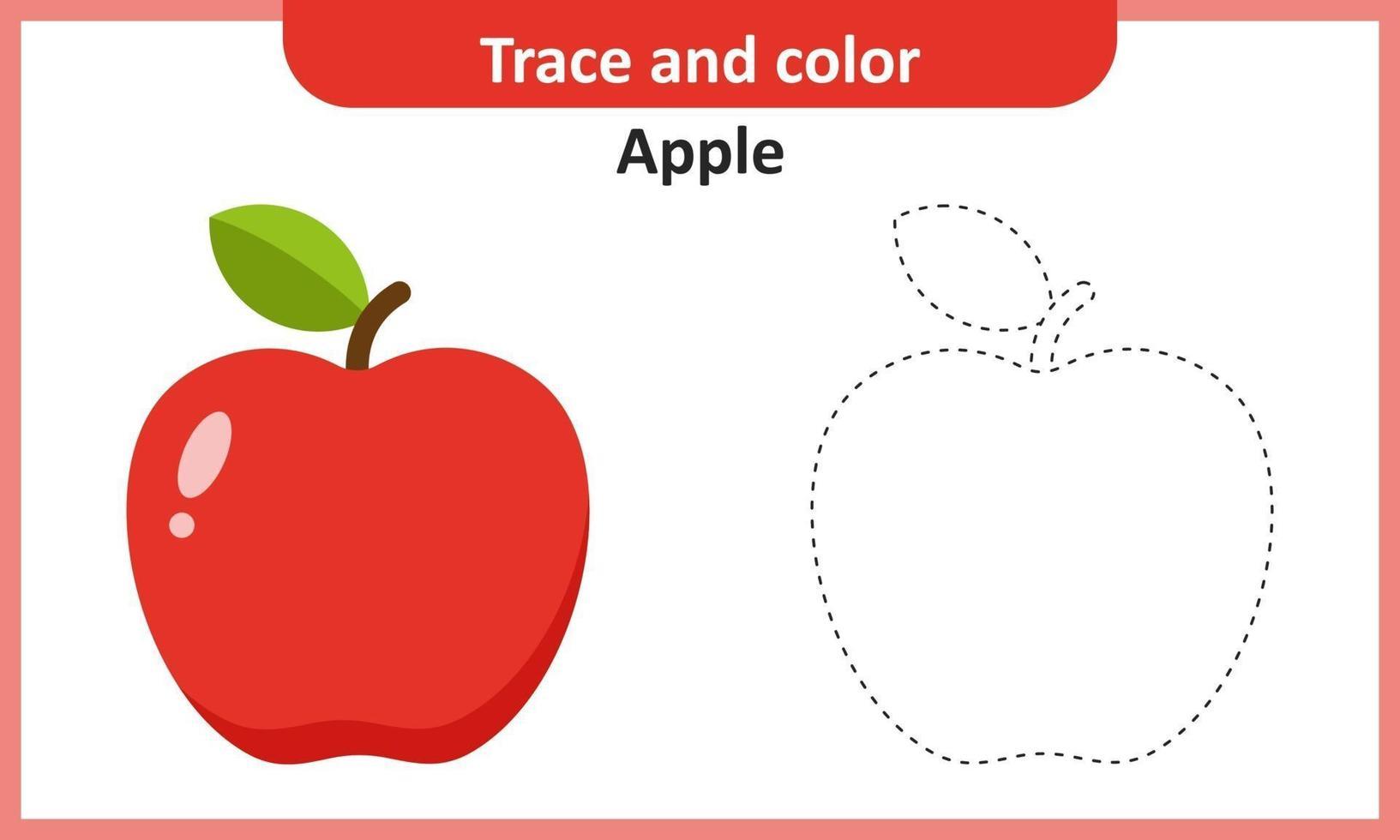 trazar y colorear manzana vector