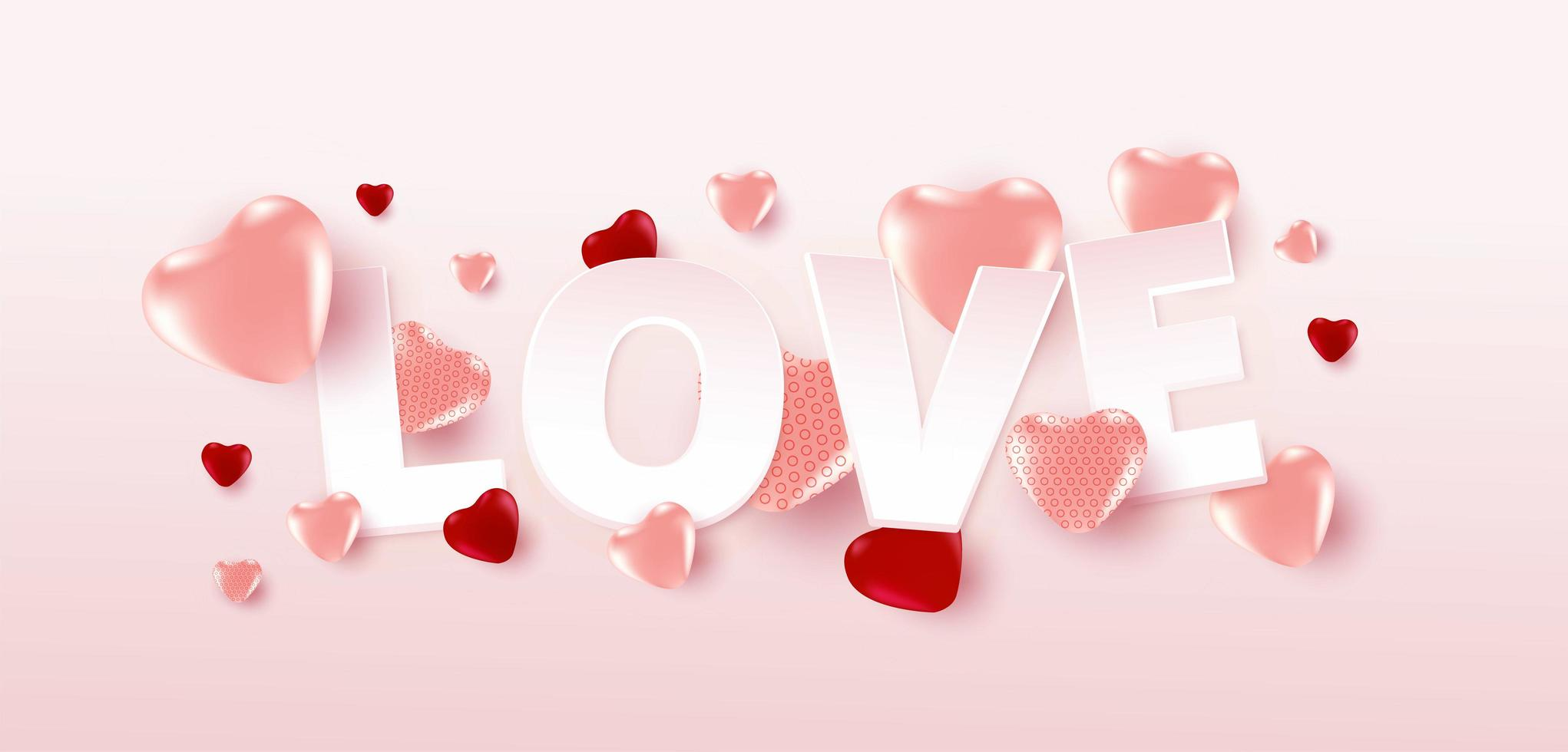 Valentine's day sale poster or banner with many sweet hearts and love text on soft pink color background. Promotion and shopping template or for love and valentine's day. vector