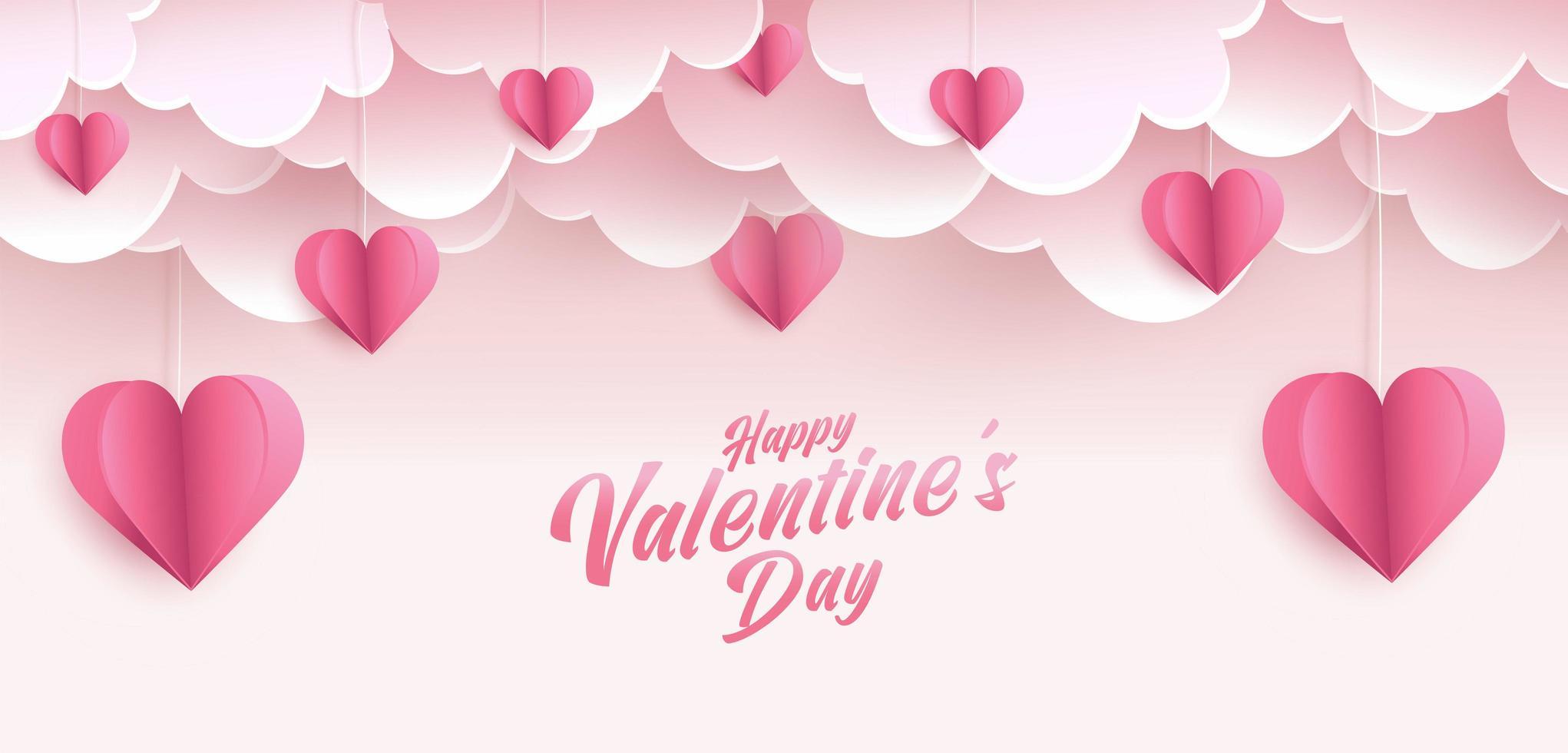 Diseño de tarjeta de felicitación de feliz día de San Valentín. banner de vacaciones con formas de corazón de estilo de arte de papel. arte en papel e ilustración de estilo artesanal digital vector