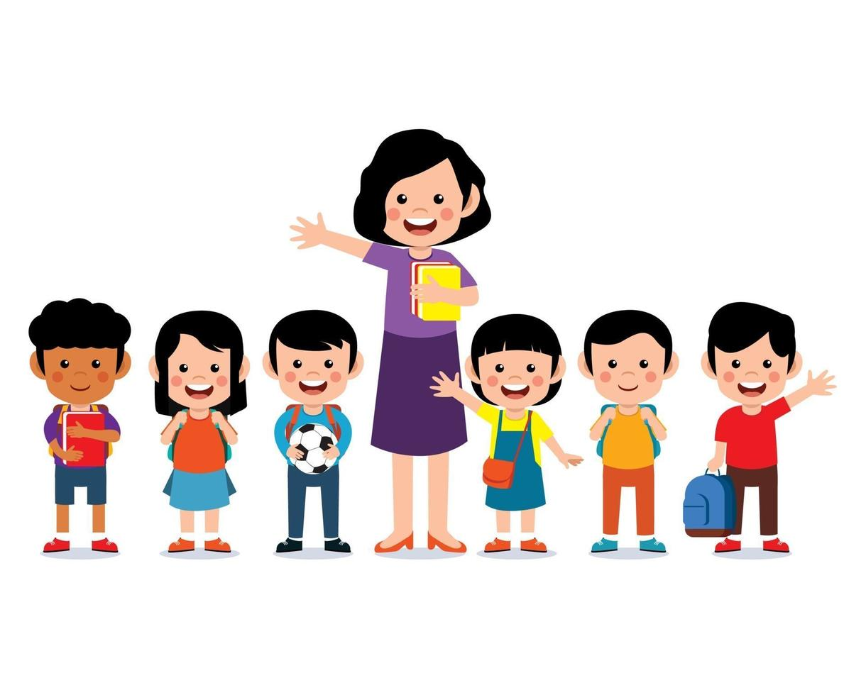 Happy teacher with cute kids smiling together vector