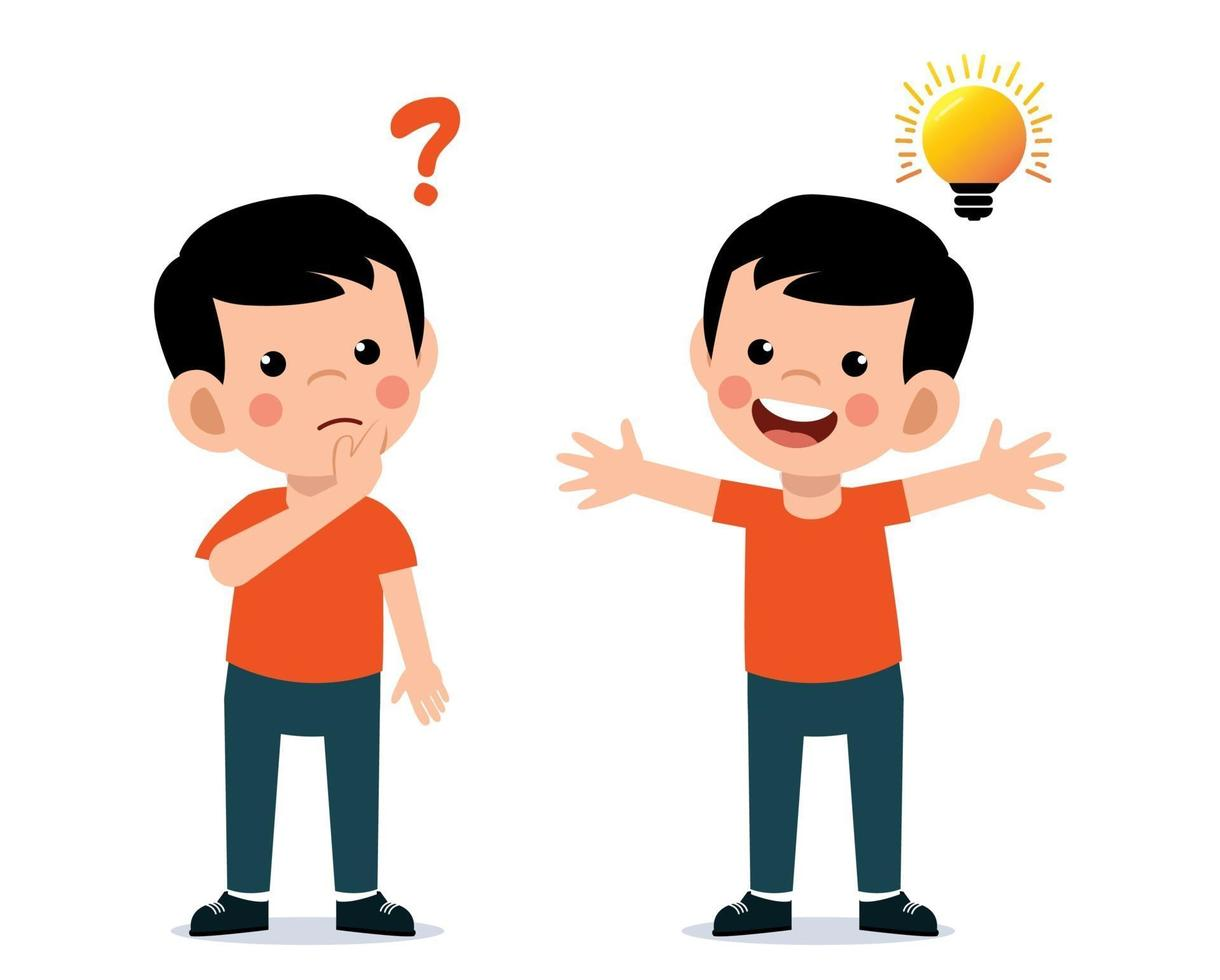 Cute little kid thinking and having idea vector