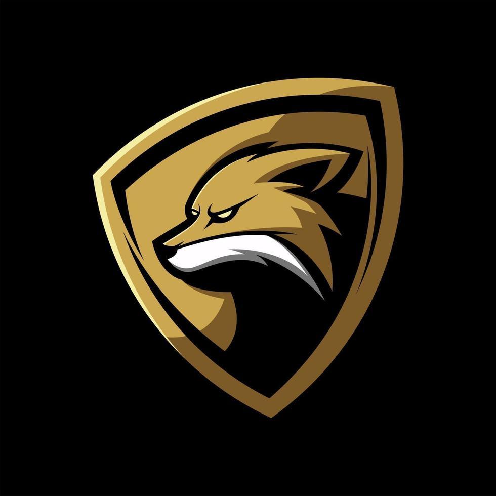 Gold fox shield mascot vector