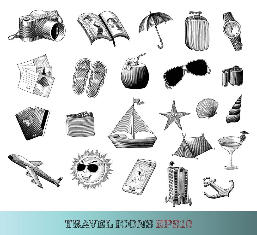 Travel icons set hand drawing vintage style black and white art isolated on white background vector