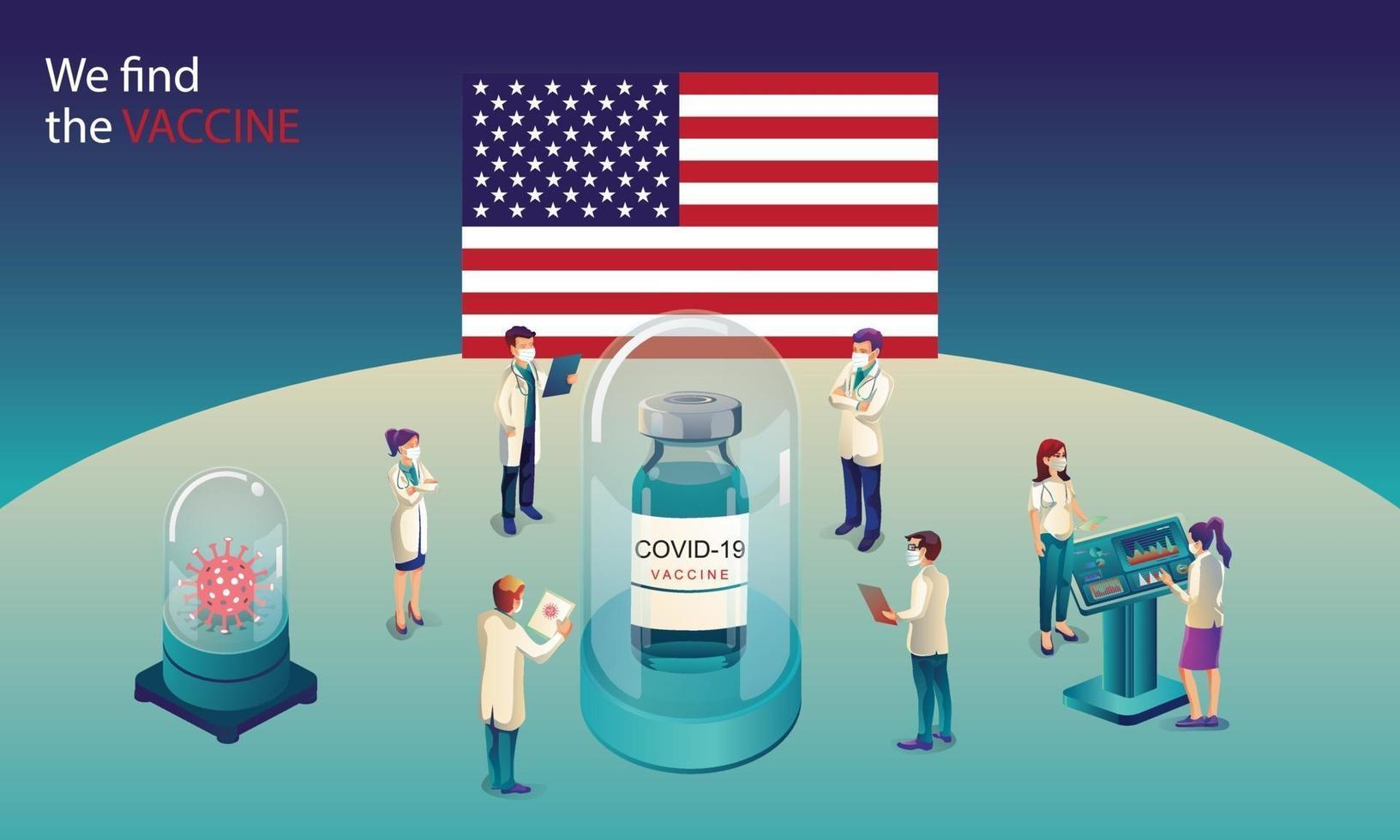 El equipo científico estadounidense ha descubierto la vacuna covid-19, una prueba de laboratorio, una jeringa y un frasco de vacuna, trabajando en la prueba. desarrollo de vacunas listo para la ilustración de tratamiento, diseño plano vectorial vector