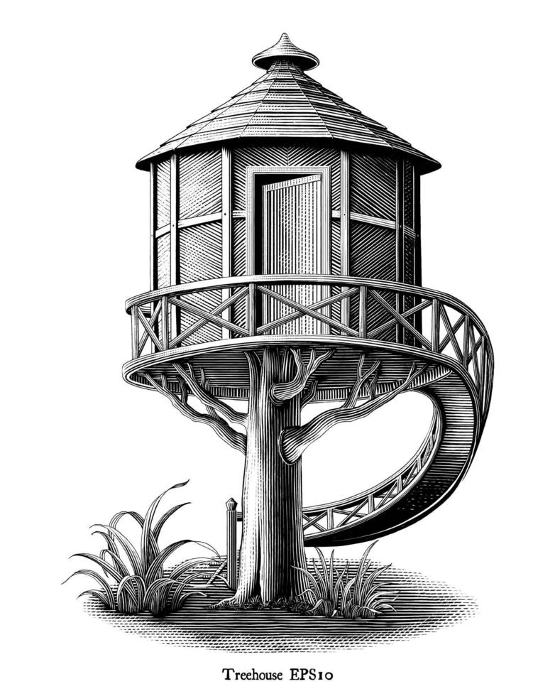 Antique engraving illustration of Treehouse drawing vintage style black and white art isolated on white background vector