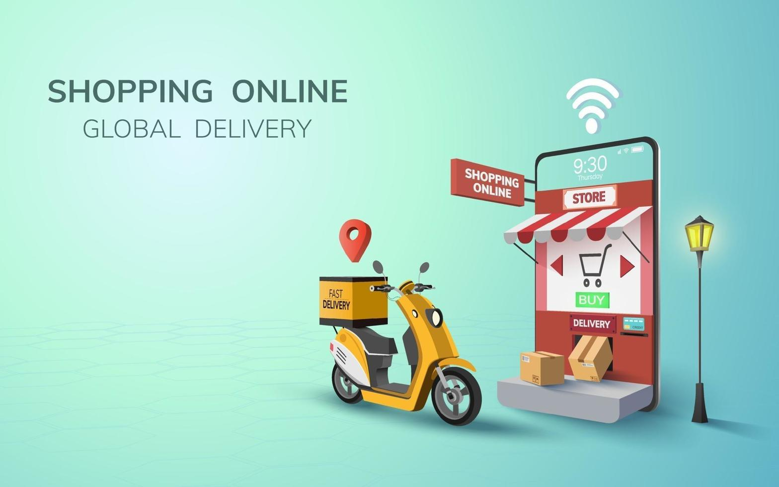 Digital Online Free Global Delivery on Scooter with mobile phone in website background concept for passenger food shipment vector