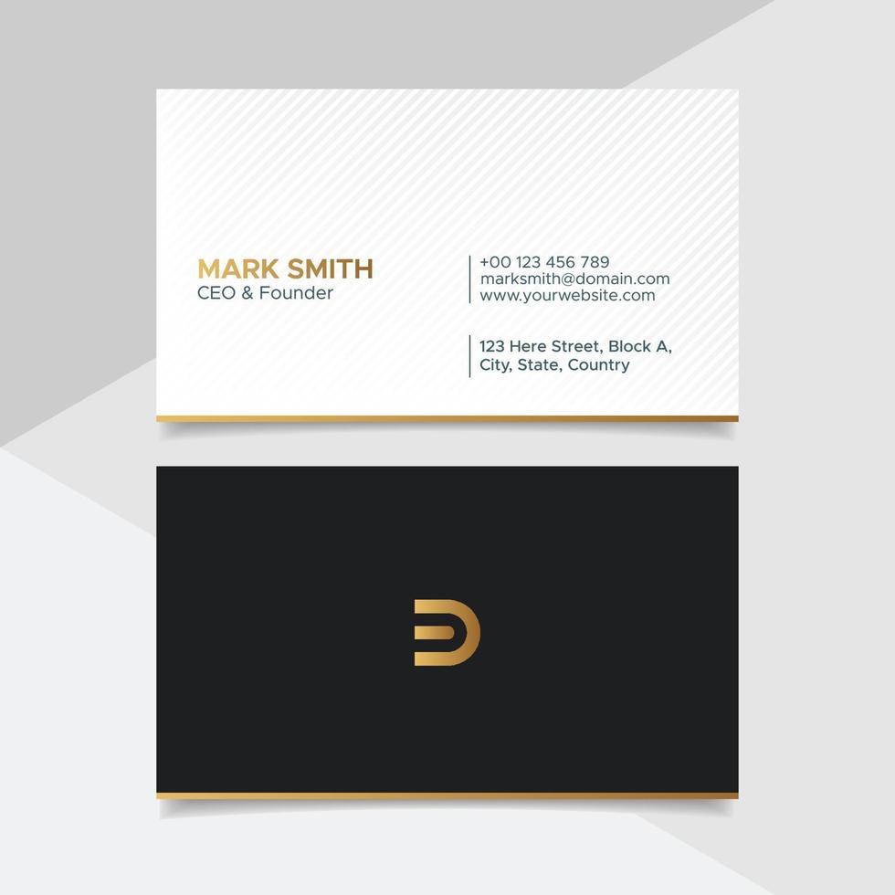 Plantilla de diseño de tarjeta de visita creativa blanca y dorada corporativa con fondo de patrón vector