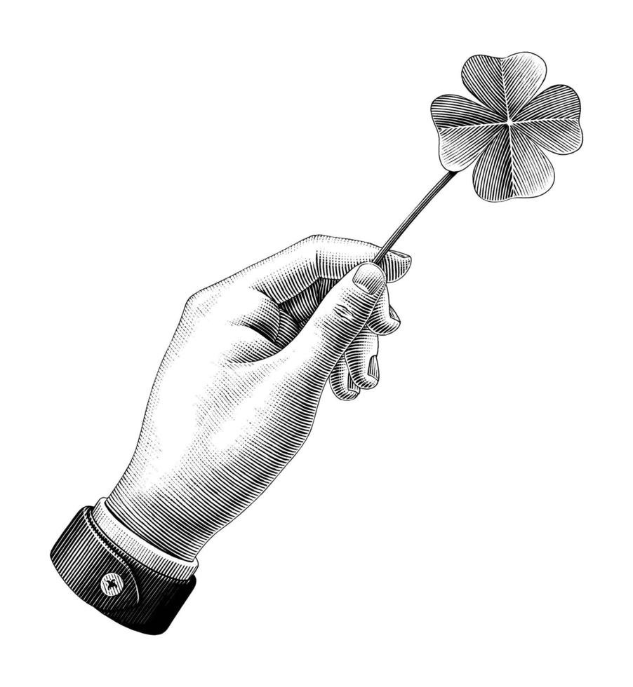 Hand holding clover leaf drawing vintage style black and white art isolated on white background vector