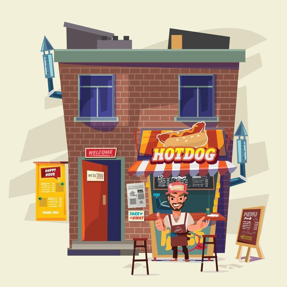 Vintage hotdog or fast food restaurant. Street food and take home concept vector