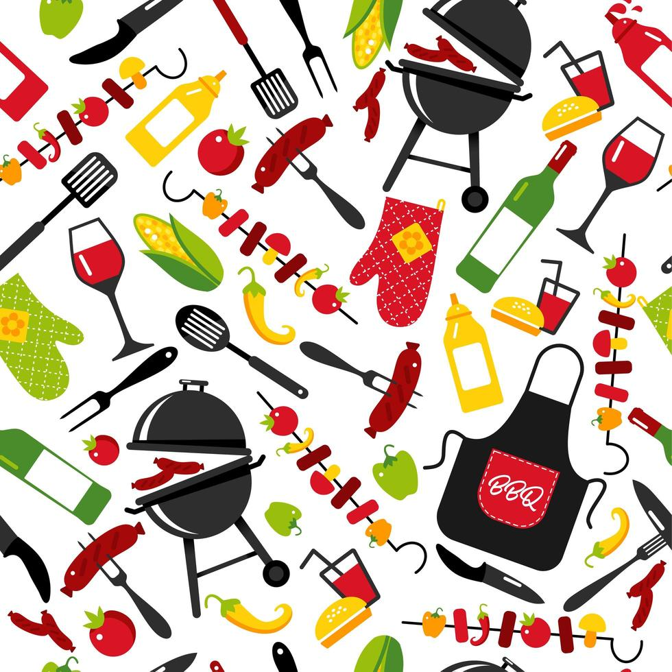 BBQ party background on white background with symbols of bbq. Seamless pattern. vector