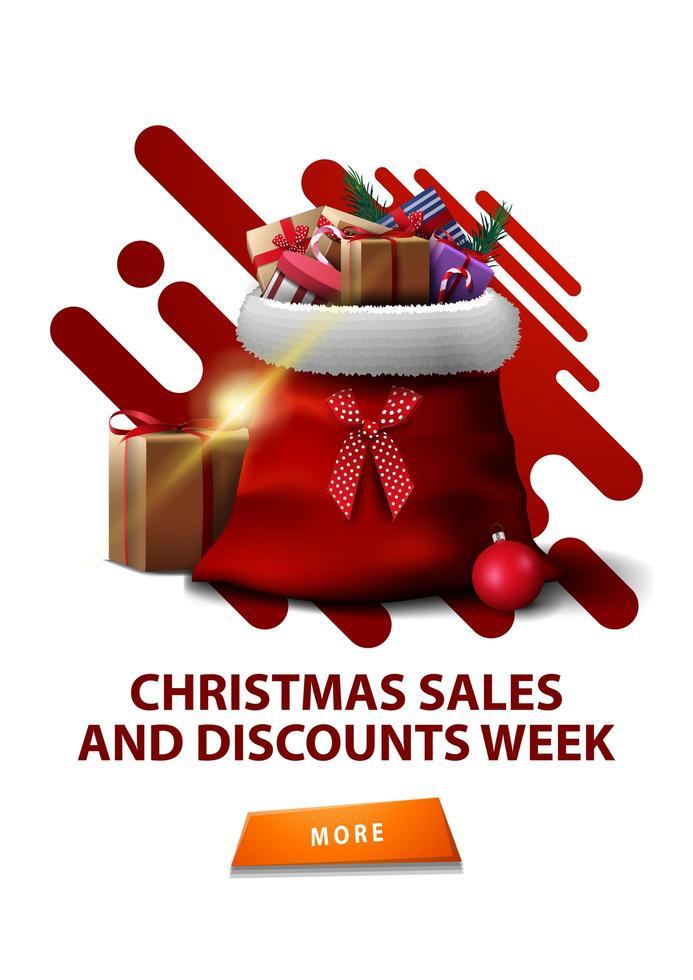 Venta de Navidad y semana de descuentos, banner vertical de descuento blanco con formas abstractas, botón y bolsa de santa claus con regalos. vector