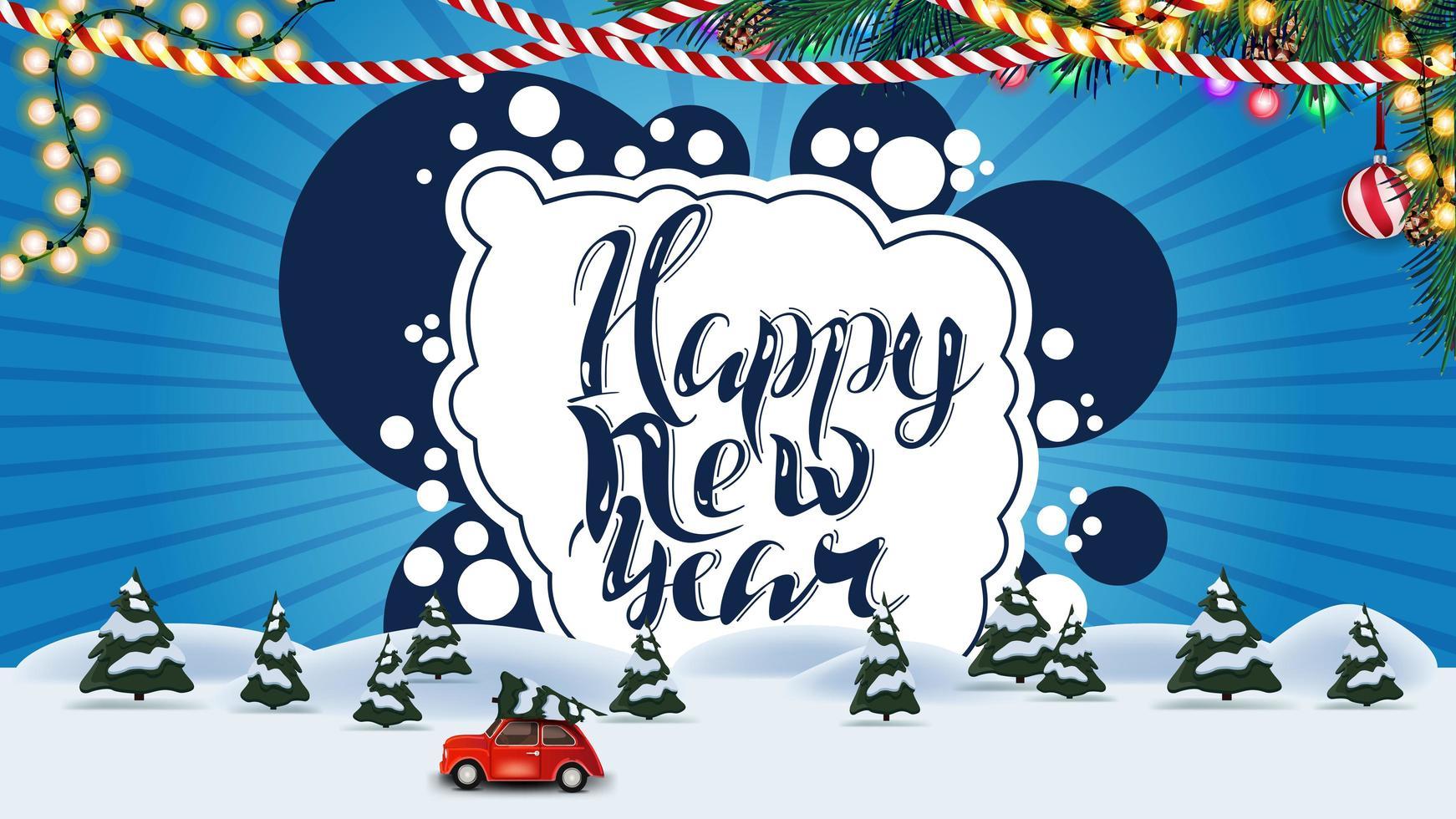 Feliz año nuevo, postal azul con paisaje de invierno de dibujos animados con coche rojo de época con árbol de Navidad vector