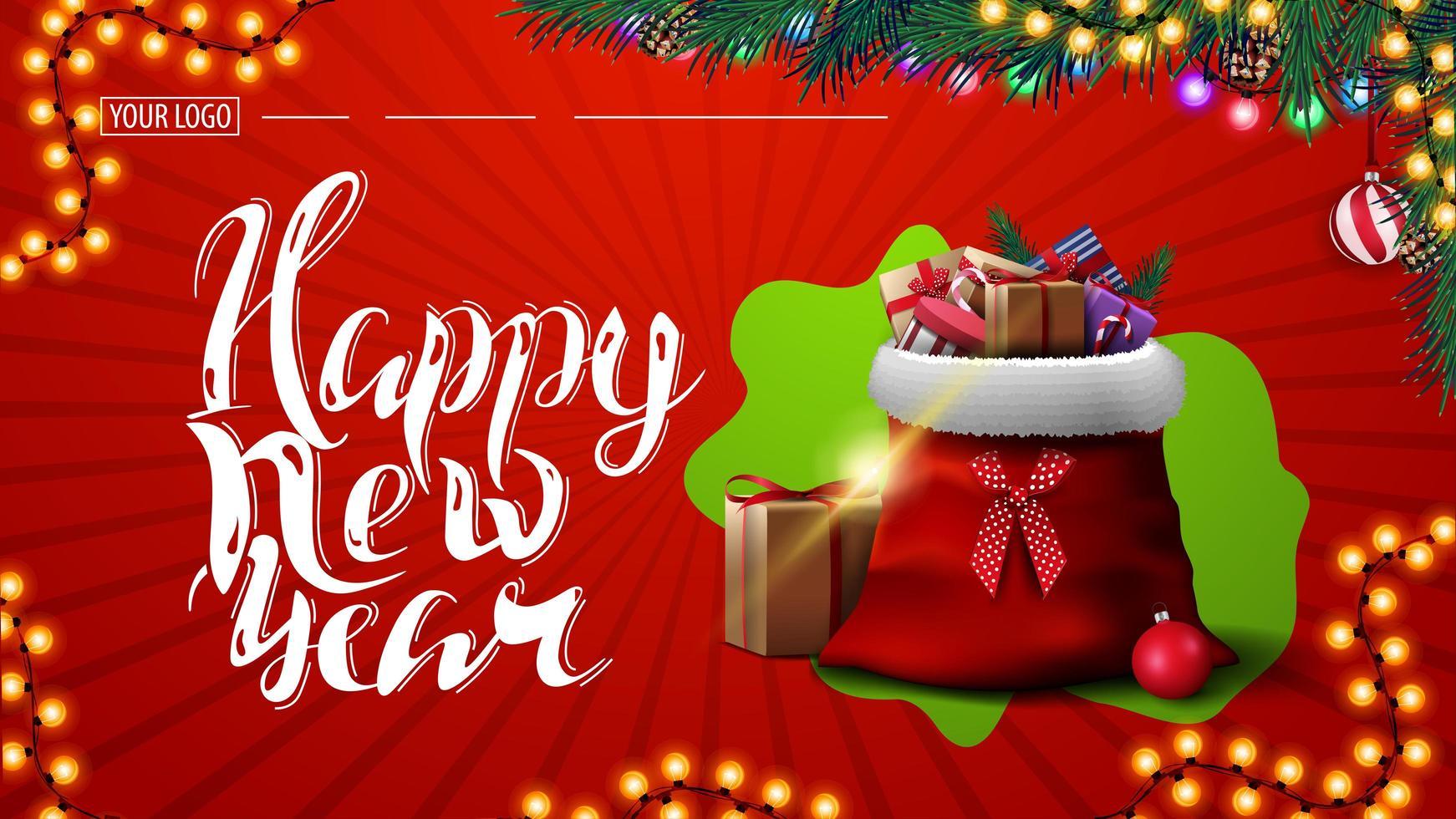 feliz año nuevo, postal roja con guirnalda, ramas de árboles de navidad y bolsa de santa claus con regalos vector