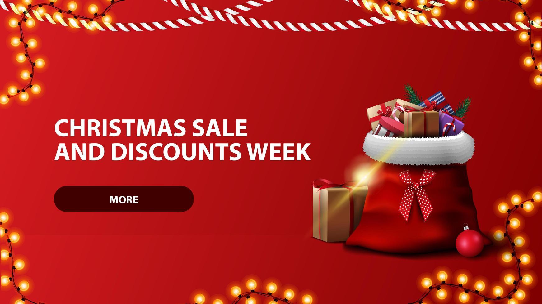 Venta de Navidad y semana de descuentos, banner horizontal rojo con botón, guirnalda y bolsa de santa claus vector