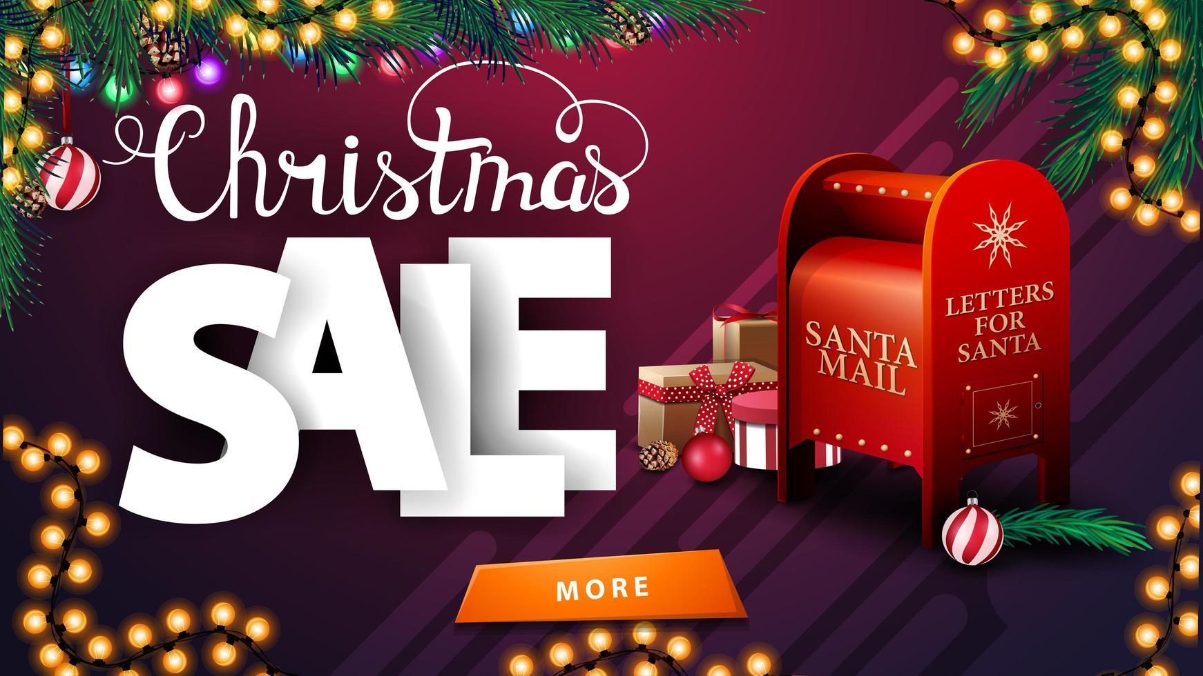 venta de navidad, banner de descuento morado con guirnaldas, ramas de árboles de navidad, botón y buzón de santa con regalos vector
