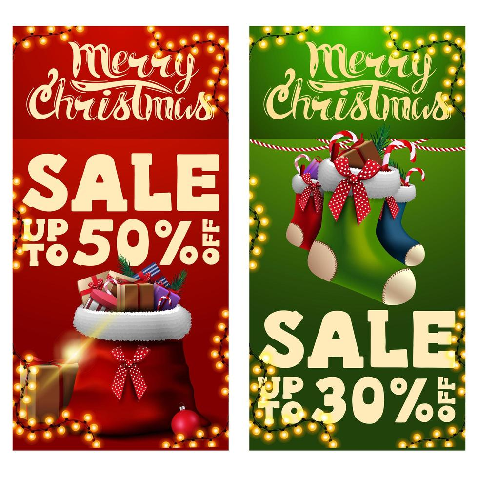 Two Christmas discount banners with Santa Claus bag with presents and Christmas stockings. Red and green vertical discount banners vector