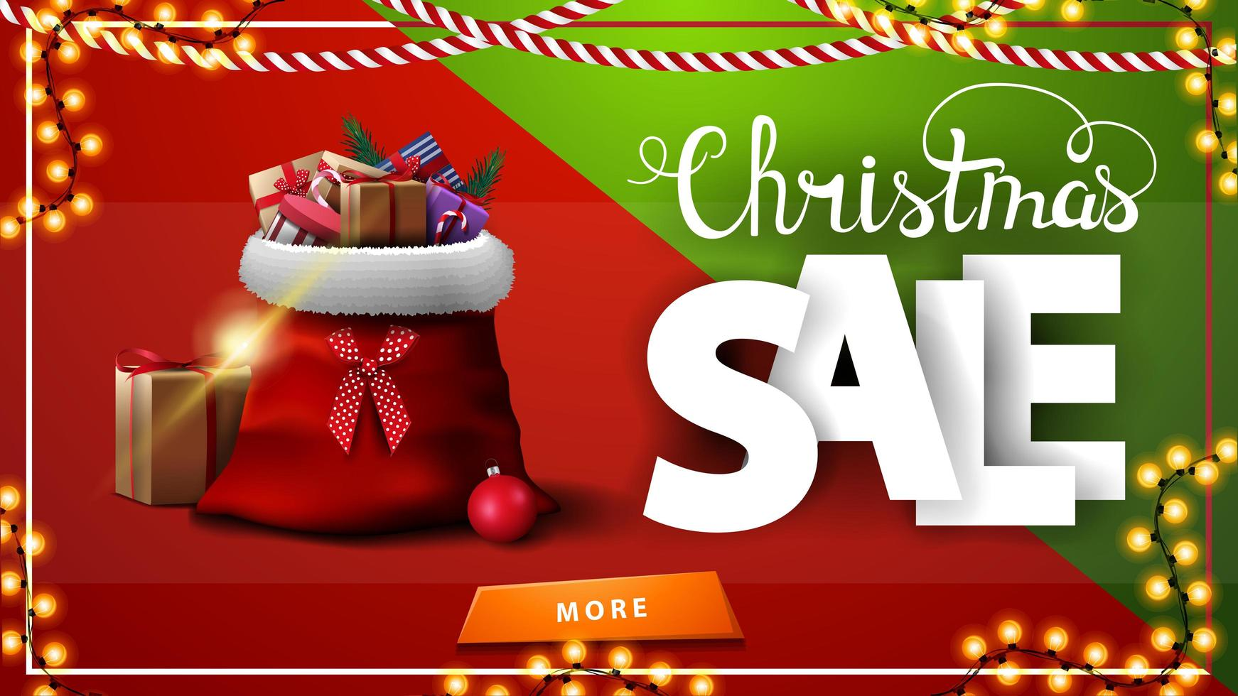Christmas sale. red and green horizontal discount banner with garland, button and Santa Claus bag with presents vector