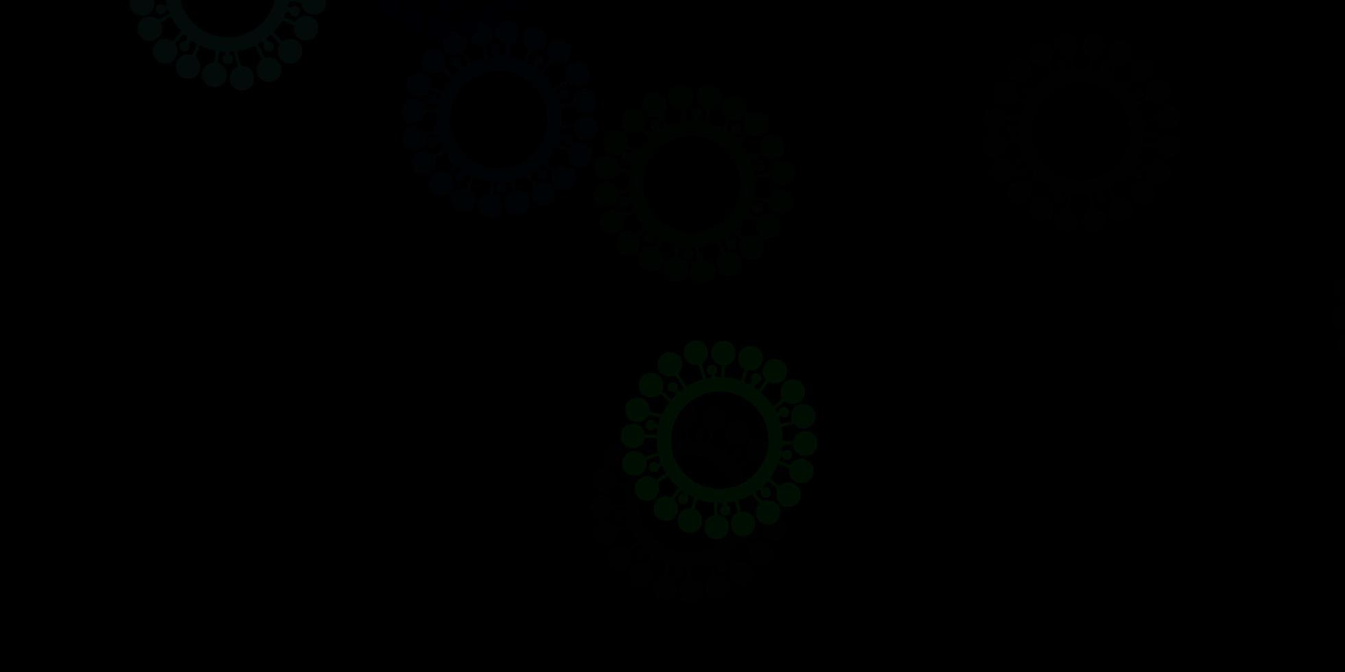 plantilla de vector verde oscuro con signos de gripe.