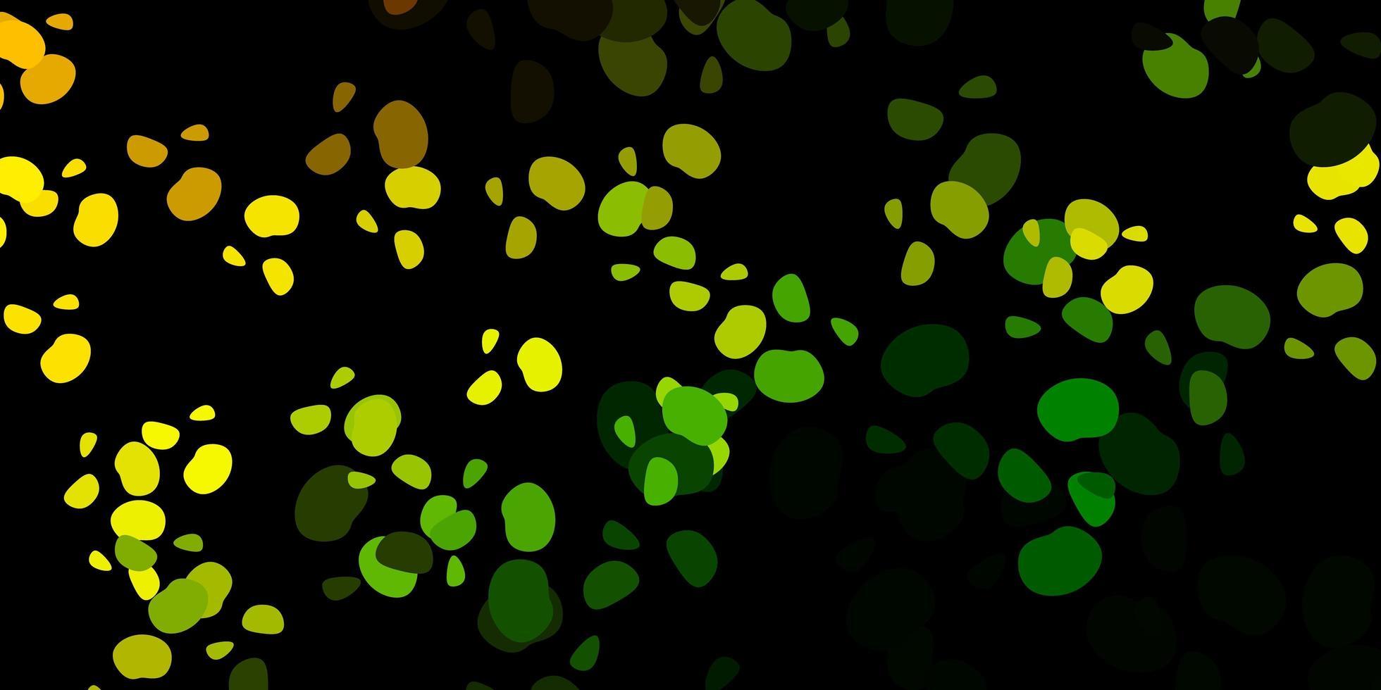 Fondo de vector verde oscuro, amarillo con formas caóticas.