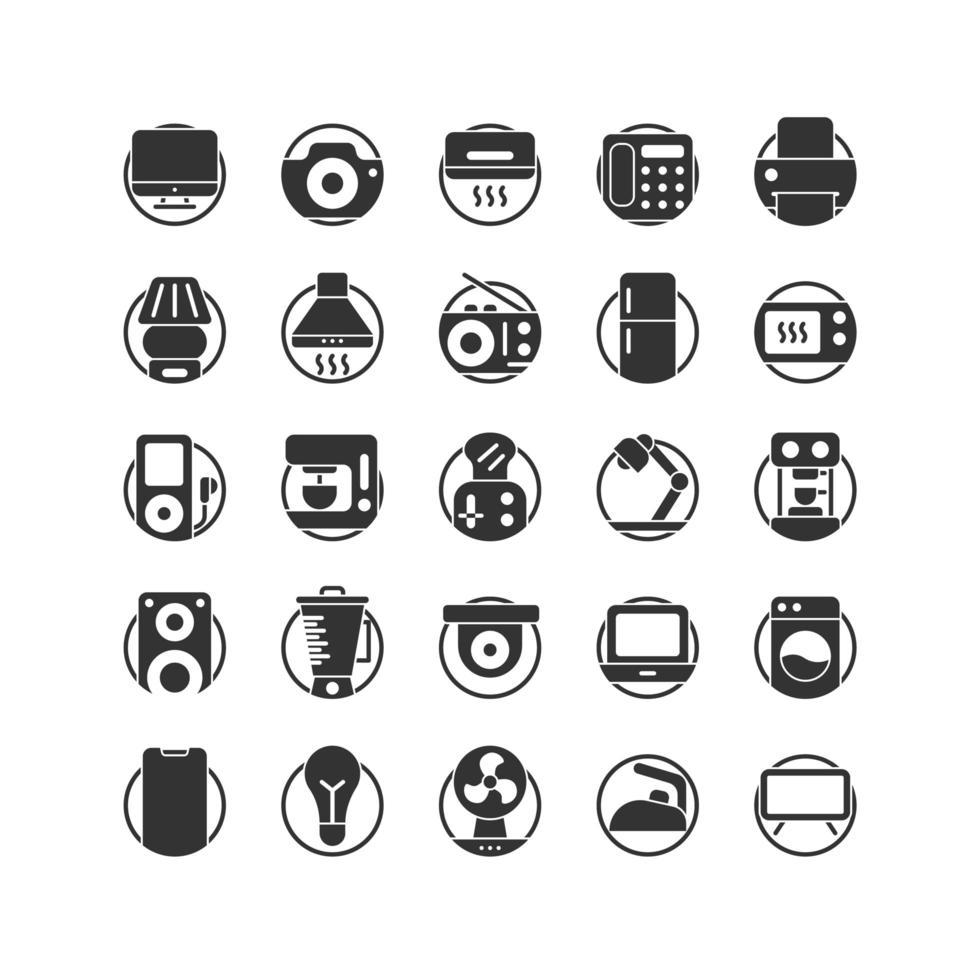 conjunto de iconos sólidos de electrodomésticos. vector e ilustración.