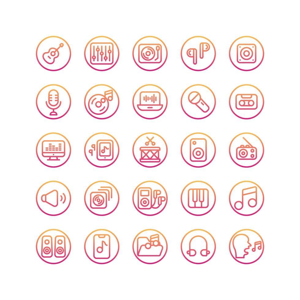 conjunto de iconos de degradado de música y sonido. vector e ilustración.