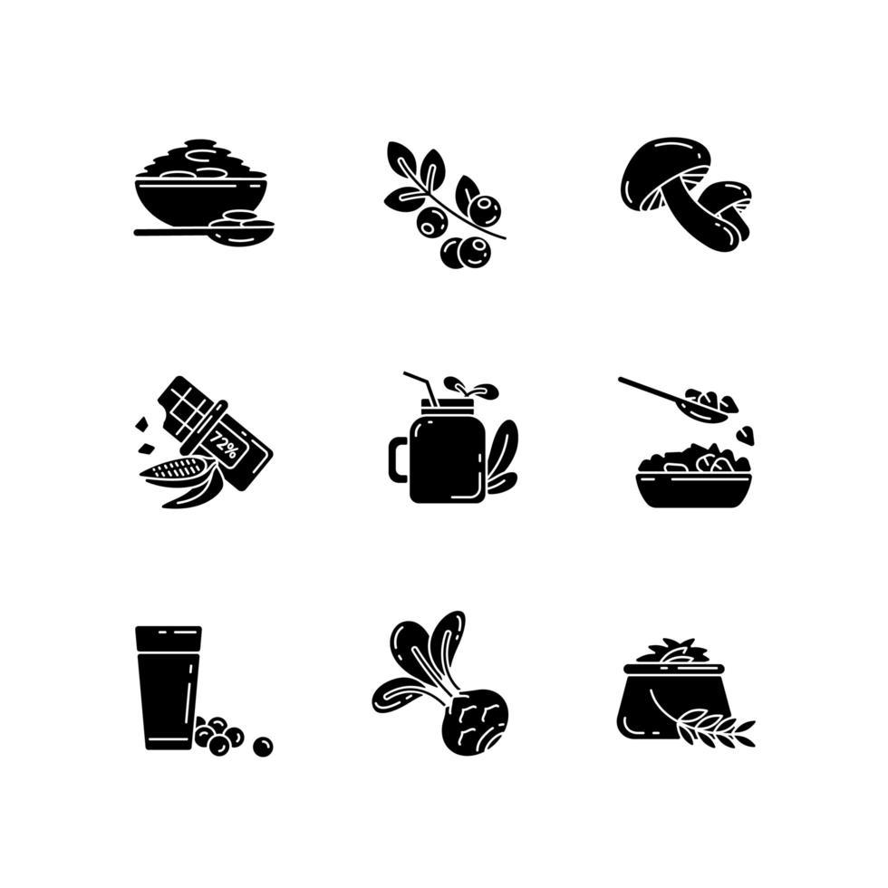 comidas vegetarianas iconos de glifo negro en espacio en blanco vector