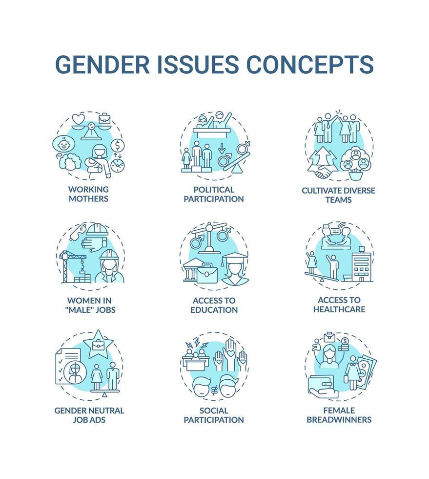 conjunto de iconos de concepto de cuestiones de género vector
