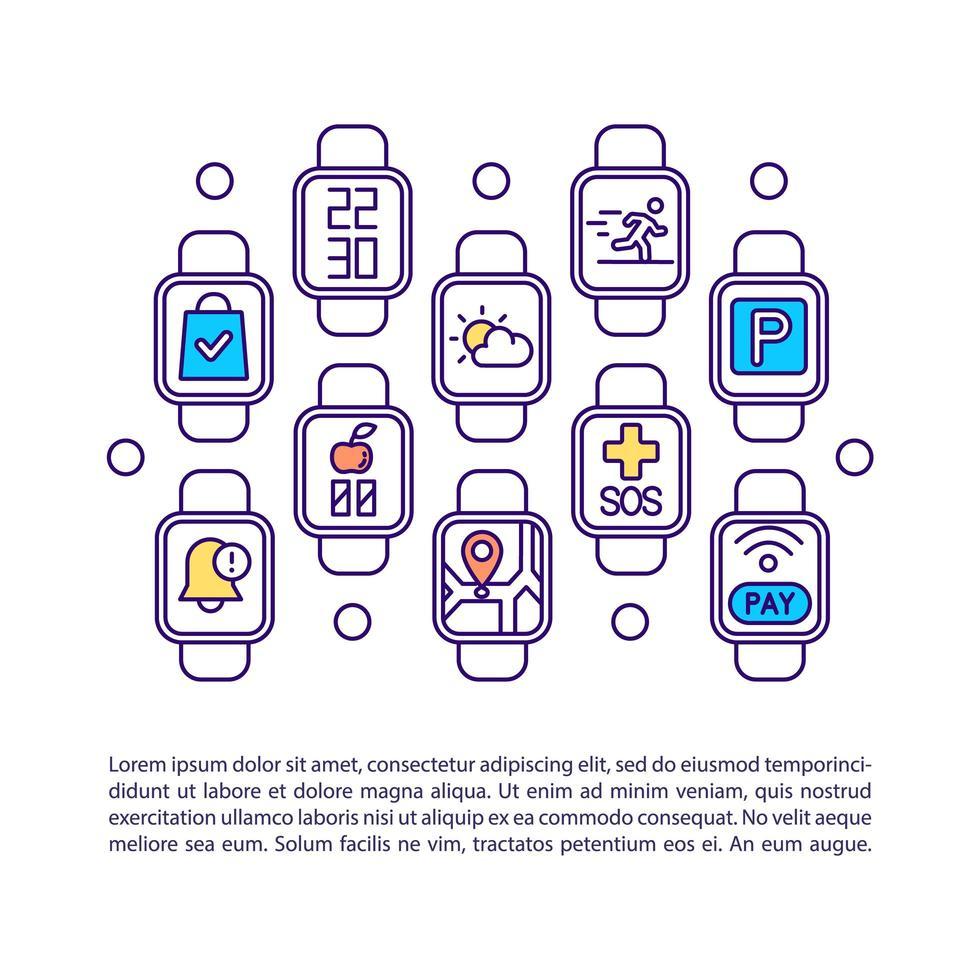 Icono de concepto de aplicaciones de reloj inteligente con texto vector