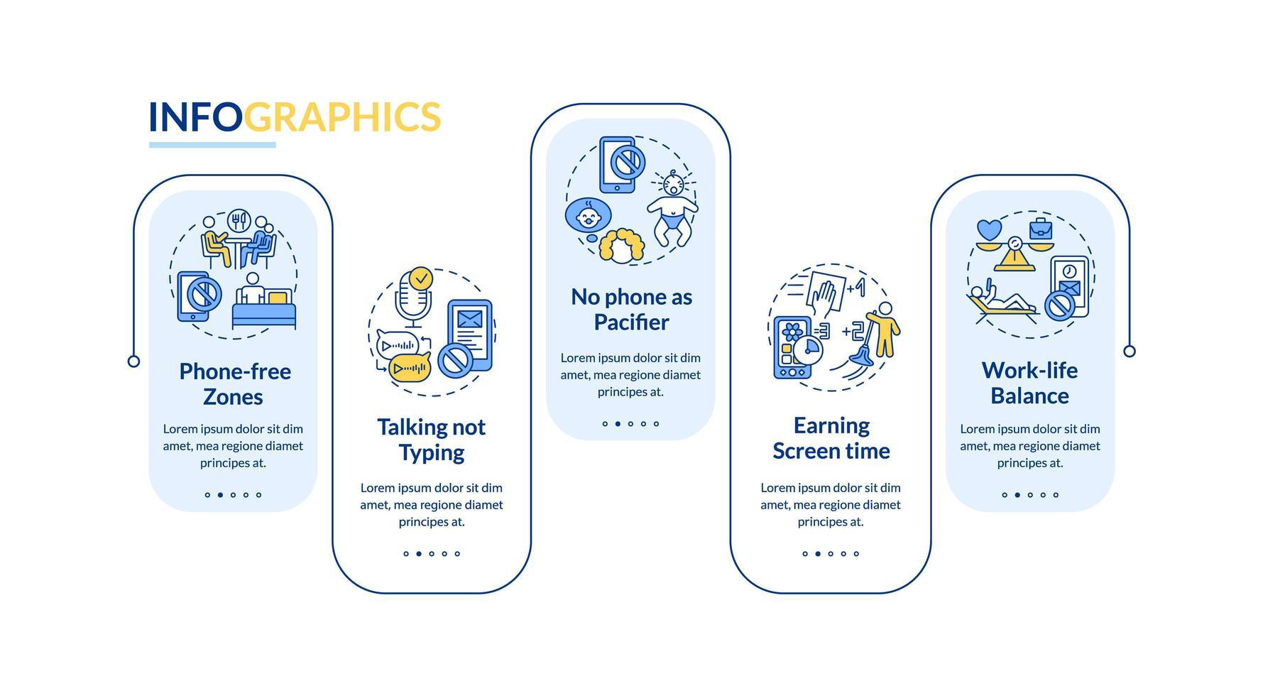 plantilla de infografía de vector de prevención de adicción a la tecnología