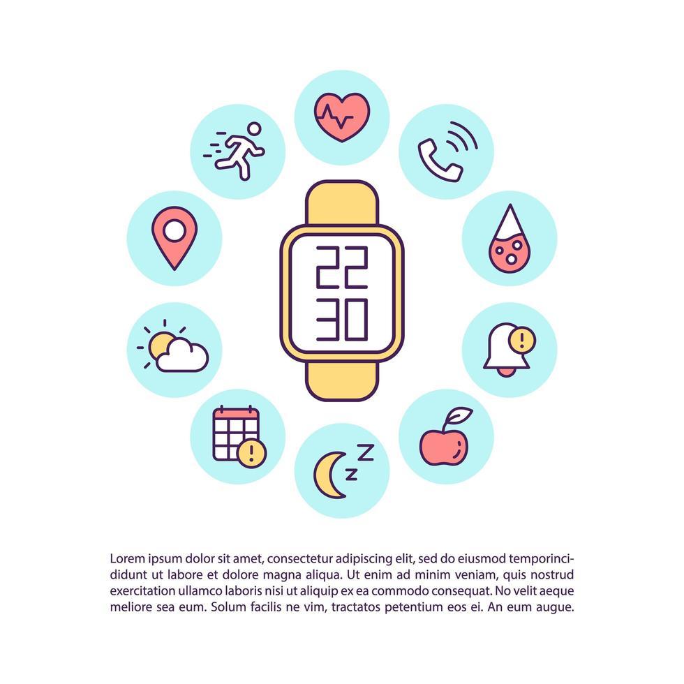 Icono de concepto de relojes inteligentes multifuncionales con texto vector
