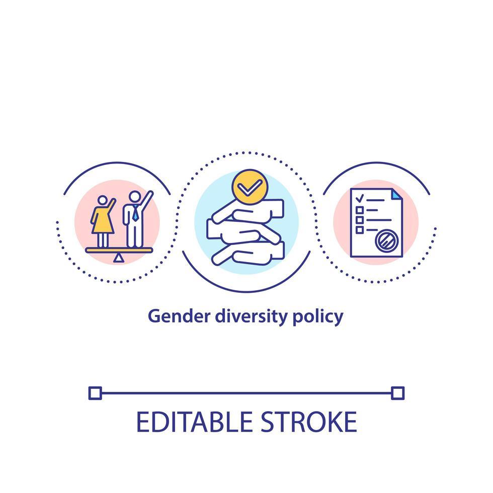 icono del concepto de política de diversidad de género vector