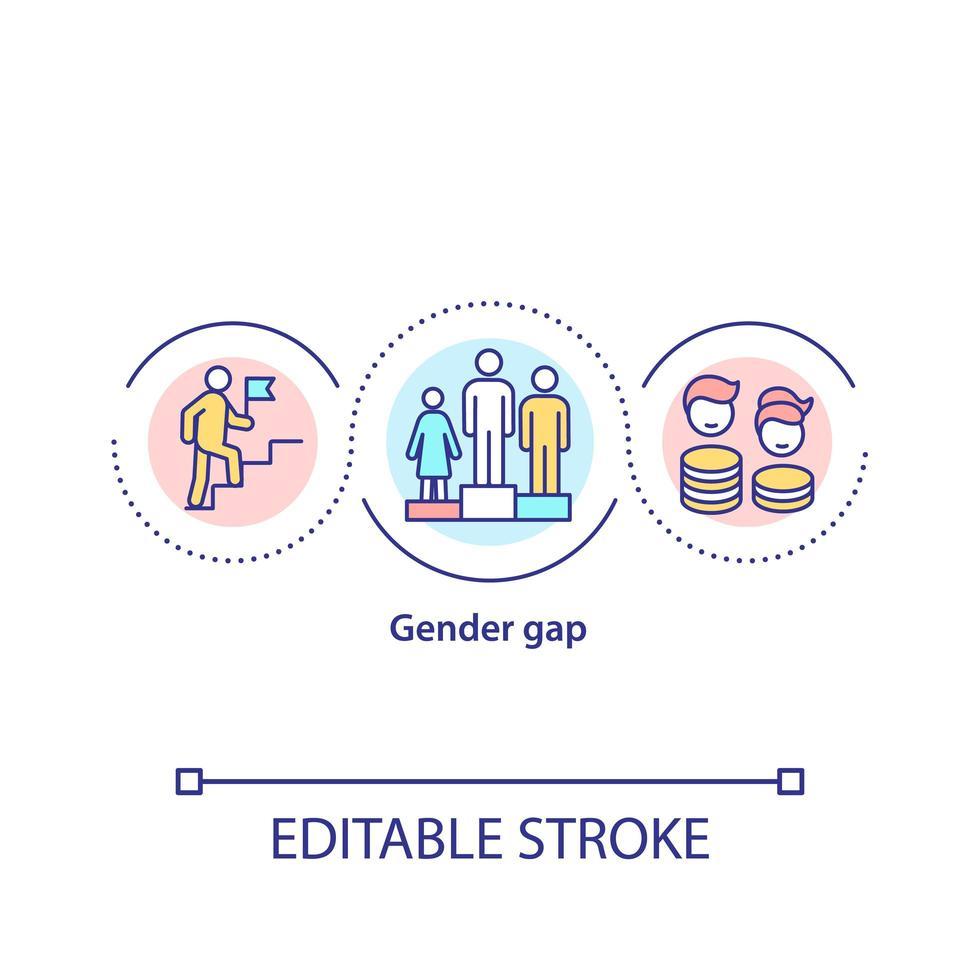 icono de concepto de brecha de género vector