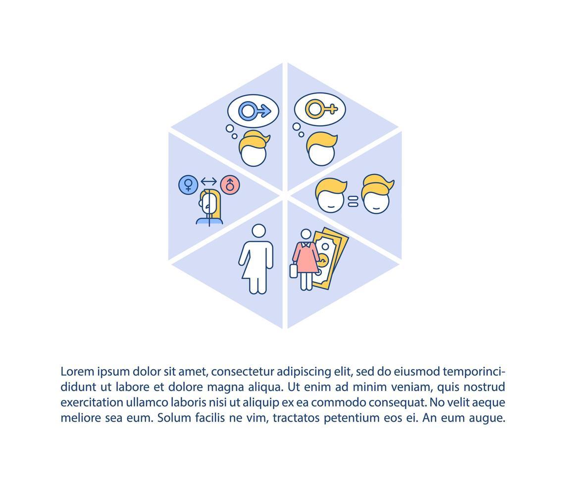 diversidad de género en el icono del concepto de lugar de trabajo con texto vector