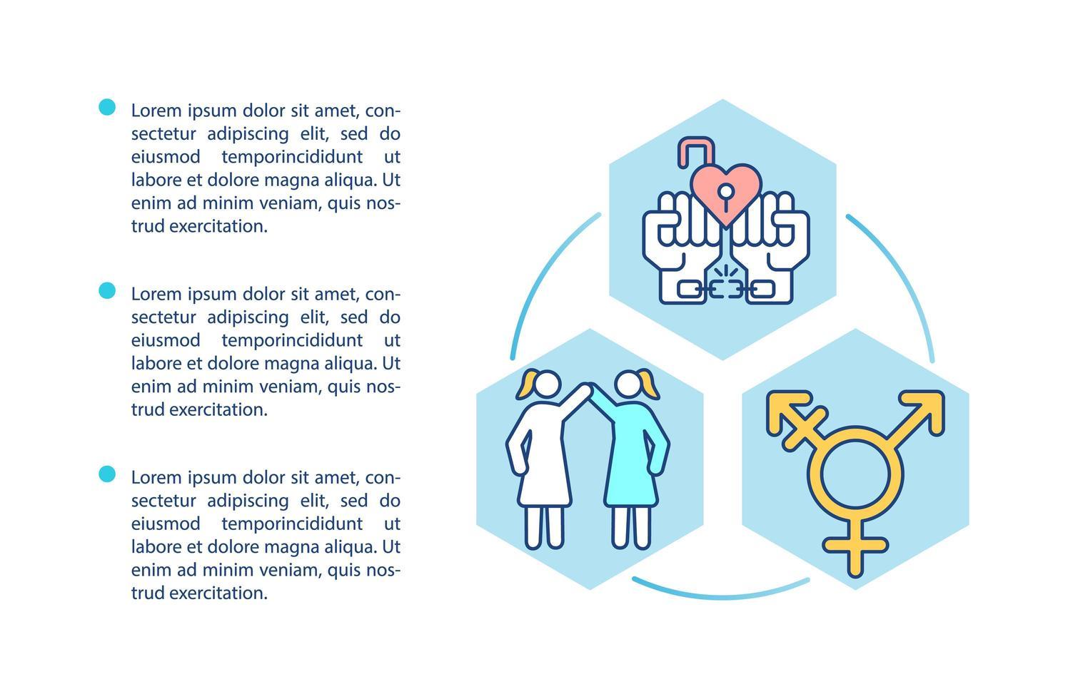 icono del concepto de diversidad de género con texto vector